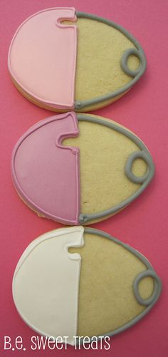 Baby pin cookies using an egg cookie cutter.