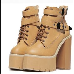 Womens Block Chunky High Heel Platform Dancing Show Round Toe PU Boots Punk Shoes, Chunky High Heels, Buckle Boots, Timberland Boots, Night Club, Lace Up, Platform, Wedges, Dancing