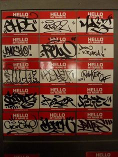 hello my name is signature cards-great keepsake of signatures of friends and family Graffiti Art, Graffiti Lettering Fonts, Graffiti Doodles, Graffiti Words, Graffiti Writing, Best Graffiti, Graffiti Tagging, Graffiti Styles, Graffiti Alphabet