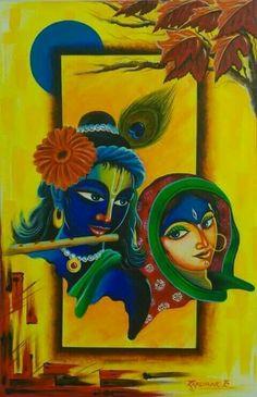 krishna and radha on swing mural paintings Krishna Painting, Krishna Art, Hare Krishna, Mural Painting, Fabric Painting, Painting & Drawing, Rangoli Ideas, Rangoli Designs Diwali, Indian Art Paintings