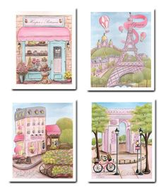 French Baby Nursery Paris Themed Girls Room, Set Of 4, Personalized, Pink Parisian French Poodle Wall Art, 6 Sizes - 5x7 to Poster
