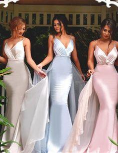 Gorgeous V-neck Spaghetti Mermaid Long Bridesmaid Dress Prom Dres - Thumbnail 2