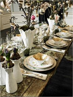 Royal Copenhagen - holiday rustic and elegant tablescape