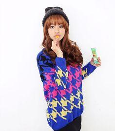 Colorful sweater #koreanfashion #fashion #2014fashion #sweater