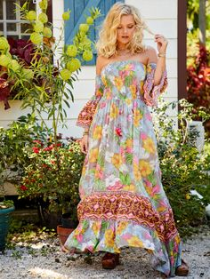 Send off tropical vibes with this off the shoulder floral print maxi. It's complete with mixed prints, a smocked bodice, frayed hemlines, and a fun multi texture tassel tie! Plus Size Maxi Dresses, Plus Size Outfits, Plus Size Stores, Mixing Prints, Beautiful Soul, Boho Outfits, Dress Patterns, Spring Summer Fashion, Bohemian Style