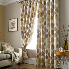 Ochre Regan Collection Lined Pencil Pleat Curtains