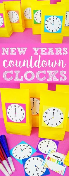 New Years Countdown Clock - Made with HAPPY - www. New Year's Eve Celebrations, New Year Celebration, Birthday Celebration, Birthday Wishes, Birthday Kids, Husband Birthday, New Year's Eve Countdown, Countdown Clock, New Year's Eve Activities