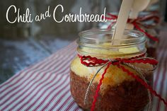 Chili and Cornbread in a jar! love it! via @Whipperberry #Soupapalooza