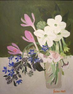 Mary Fedden - Tobacco Plant, 1989 - Oil on canvas Art Floral, Arte Popular, Naive Art, Painting & Drawing, Flower Art, Still Life, Flower Arrangements, Original Art, Illustration Art