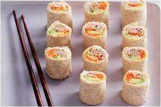 avocado and tuna sushi sandwiches - kids party food Sushi Recipes, Sandwich Recipes, Cooking Recipes, Recipies, Avacado And Tuna, Sushi Sandwich, Sushi Rolls, Tasty, Yummy Food
