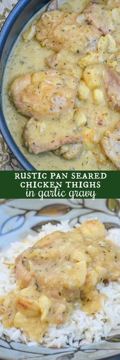 Rustic Pan Seared Chicken Thighs with Garlic Gravy are the solution to all your ho hum chicken and gravy problems. Perfectly seasoned, seared chicken thighs are simmered in a rich, garlic & thyme infused gravy. It's a dinner dream come true, especially since it's easy enough for any level of home cook to accomplish.