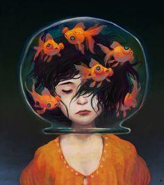 "Mistaken identity by Ken Wong - Cover of Mogwai ""Take Me Somewhere Nice"" - illustration painting girl portrait fishbowl goldfishes"