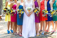 #rainbow bridesmaids  ... Wedding ideas for brides, grooms, parents & planners ... https://itunes.apple.com/us/app/the-gold-wedding-planner/id498112599?ls=1=8 … plus how to organise an entire wedding ♥ The Gold Wedding Planner iPhone App ♥