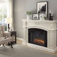 Seek for Wynne Electric Fireplace Fireplace Built Ins, Modern Farmhouse Living Room Decor, Fireplace Mirror, Chimney Decor, Indoor Fireplace, Farmhouse Fireplace Mantels, Fireplace Mantels, Remodel Bedroom, Fireplace