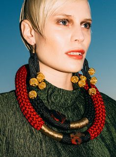 After spending time in South Africa, writer Laurel Pantin gathered her own crop of South African designers she loved. Ghana Fashion, Tribal African, African Necklace, Textile Jewelry, African Design, Fashion Accessories, Jewelry Design, Designers, Fall