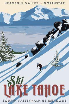 Ski Lake Tahoe, vintage California poster