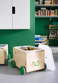 Get easy organization tips and small storage and children's furniture ideas for your living room or playroom