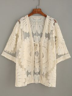 Shop Beige Embroidered Mesh Kimono online. SheIn offers Beige Embroidered Mesh…