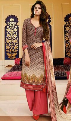 Eulogize your luxurious charm draped in this beige color shade georgette printed palazzo suit. This dress is displaying some really mesmerizing and sophisticated patterns embroidered with print work. #georgettesalwarkameez #latestgeorgettedress #palazzosuits