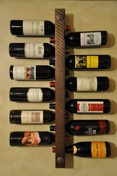 Wooden Wine Holder, Rustic Wine Racks, Diy Wine Racks, Wine Wall Decor, Wine Rack Wall, Wall Mounted Wine Racks, Wine Bottle Storage, Wine Bottle Holders, Wine Bottles