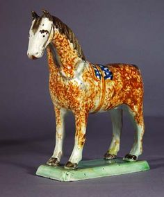 A Charming St. Anthony, Newcastle  Prattware Pottery Model of a Pony, Circa 1800-20