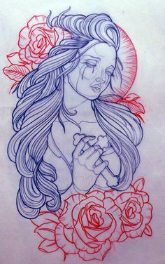 Arm coverup? Maybe. Changed a bit. Blk and white, colored roses. Holding an anchor, not cross. Take out the lines of the face and the thing behind her head. And maybe wings encasing her?