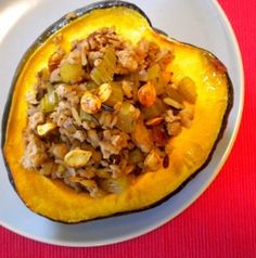 Stuffed Acorn Squash With Turkey and Wild Rice Recipe | REPINNED