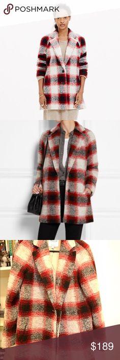 XS madwell plaid wool-blend coat XS madwell plaid wool-blend coat, weared a few times, loose-fitting, so it'll fit people normally wearing XXS-M sizes. madwell Jackets & Coats