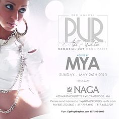 NAGA  is opening our elegant patio for the spring and summer nights. Come experience a Cambridge spring evening with us this Memorial Weekend with guest host MYA! Save the date!    Naga Night Club   450 Massachusetts Ave.   Cambridge, MA 02139     Tables/Info - Bottle Specials available, contact jason@nagacambridge.com or 857 991 7164   Website: nagacambridge.com   Like us on Facebook: Naga   Follow us on Twitter: nagacambridge