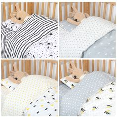 1-4 Pc Cot bedding set for newborn babies-  Quilt, Sheets, Pillow, swaddle wrap- (4 Designs available)
