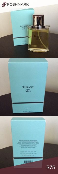 TIFFANY for Men Cologne Atomiseur, 3.4 fl Oz I bought this fantastic Cologne for my husband, but he only used it once, so it's nearly a full bottle. Please note the Tiffany box has some signs of wear (mainly fading of the color in the corners, which can be seen in the pictures). 3.4 fl Oz, 100 ml. Cologne Atomiseur. Currently retails for $95 + tax. Tiffany & Co. Accessories