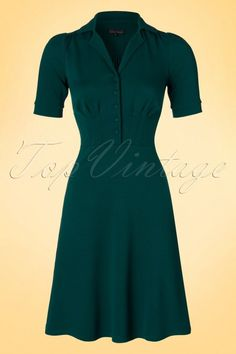 King Louie Milano Crepe Diner Dress in Dragonfly Green 19027 20160712 0005a