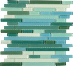 Euro Glass  Random Brick Series, Random Bricks, Florida Keys, Glossy & Frosted, Blue, Glass Tiles