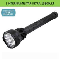 Linterna militar 15 luces LED CREE XML-T6 brillo potente 13800 lumenes uso tactico policial.