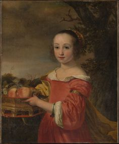 """""""Petronella Elias (1648-67) with a Basket of Fruit"""" (1657) Ferdinand Bol [Dutch,1616–1680] Oil on canvas. The Metropolitan Museum of Art. Bol was a pupil of Rembrandt in the late 1630s, and followed his teacher's style until the middle of the century. During the 1650s Bol became established in Amsterdam society, enjoyed considerable success as a portraitist and history painter, and adopted a more colorful, fluid, and Flemish style."""