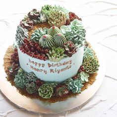 """Cactus Landscape. """"Sand"""" made from crushed vanilla cookies"""