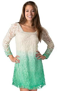 Angie Women's Ivory to Green Ombré Floral Lace and Crochet 3/4 Sleeve Dress