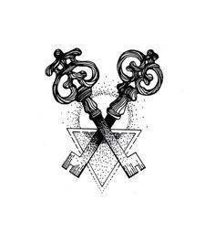 http://lesmiserablesxvii.tumblr.com Custom tattoo design - a remake of Woodkid's keys