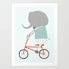 """So excited to share my first illustrated print! """"William Rides His Bicycle"""" 