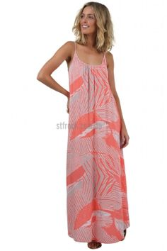 Harmony Maxi Dress $59  Shop Online > https://stfrock.com.au/shop-by/categories/maxi-dress/  The Harmony Maxi is a comfortably loose fitting maxi with adjustable straps that is great for women of all shapes and sizes! The coral and grey print of this dress would look beautiful against bronzed skin, and you can easily jazz up this casual maxi with the help of the Lady Fame Necklace in Rose Gold
