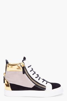 Giuseppe Zanotti Colorblock Suede Sneakers — I love how no Giuseppe Zanotti sneaker ever looks cheap, but yet they're wearable everyday shoes