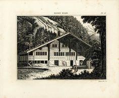 1839 Plans de Chalet suisse Architecture Gravure Lithographie Illustration de la boutique sofrenchvintage sur Etsy