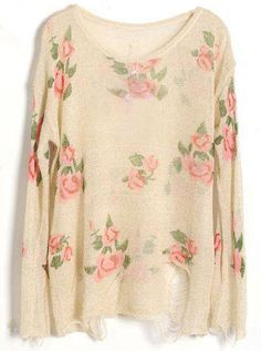Size Medium.  Beige Rose Flowers Print Ripped Distressed Long Sleeve Jumper - Sheinside.com