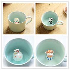 1PC New style 3D Cute Animal Painted Ceramic Coffee Mug Cup Tea Cups 230ml