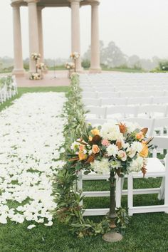 Gorgeous wedding ceremony with a carpet of rose petals #weddingideas #weddingceremony #aisle #outdoorwedding #gardenwedding