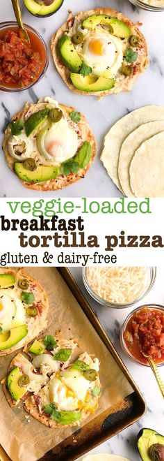 Made with salsa, dairy-free cheese, avocado and eggs for an easy and delicious tortilla pizza that is healthy and simple to make! Breakfast Pizza Healthy, Breakfast Tortilla, Tortilla Pizza, Eat Breakfast, Breakfast Recipes, Tortilla Recipe, Breakfast Ideas, Pizza Recipes, Lunch Recipes