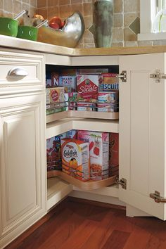 Our Super Lazy Susan Cabinet brings the back of the shelf to you with these independently rotating shelves.