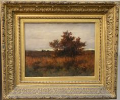 """Arthur Hoeber (1854-1915)  An Autumn Evening  oil on canvas  signed lower left: Arthur Hoeber  titled and signed on back, partially covered with patch  11"""" x 14""""  Estimate: $1000 - $2000"""