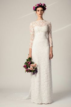 """Guipure Lace Empire Waist """"Vintage"""" Bridal Gown Featuring 3/4 Length Lace Sleeves & High Neckline, Beaded Bodice, & V Cut Back With Lace Watteau Train; by Temperley London××××"""