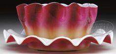 New England Plated Amberina Ruffled Finger Bowl and Under Plate - 5 inch DOA FINGER Bowl and 6 5/8 iinch DOA Plate